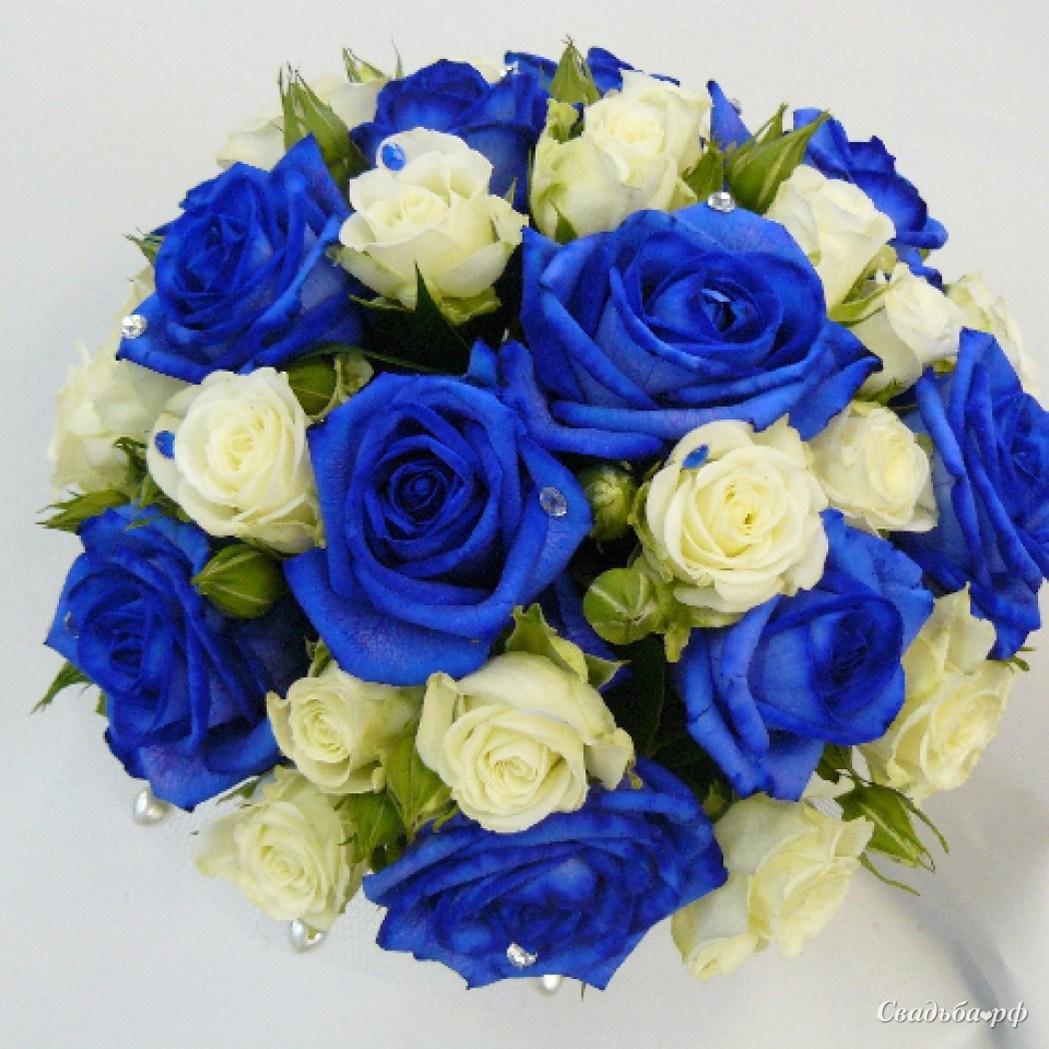 Цветов удивительные, букет невесты из синих роз купить киев